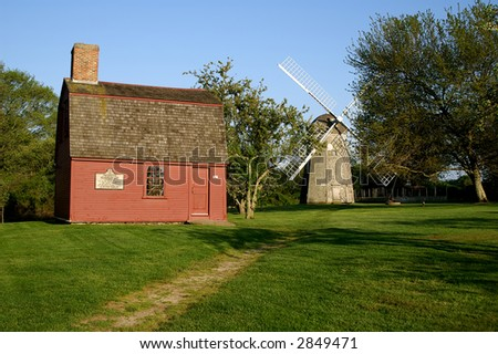 General Prescott's Headquarters and Windmill, Middletown, Rhode Island - stock photo