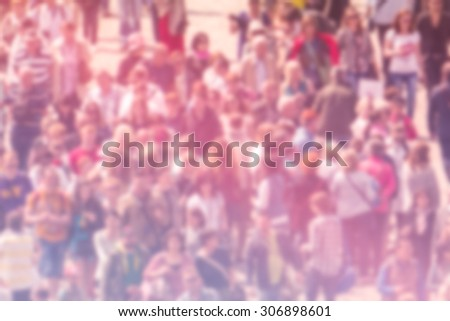 General Public Opinion Blur Background, Aerial View with Unrecognizable Crowded Population Out of Focus, Blurred Crowd of People On City Street, Vintage Toned Image. - stock photo