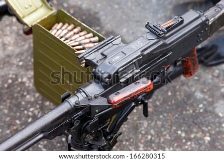 General purpose machine gun close up - stock photo