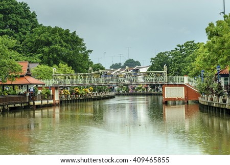 general sight of the river Sungay Melaka to the evening to its step along the city of Melaca in Malaysia