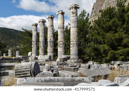 General temple view of Priene Ancient City in Aydin, Turkey, on bright blue sky background. - stock photo