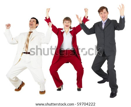 General triumph of a happy command of businessmen on a white background - stock photo