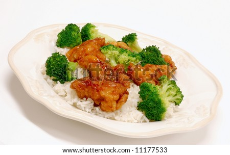 General Tso's Chicken & Broccoli Chinese food. - stock photo