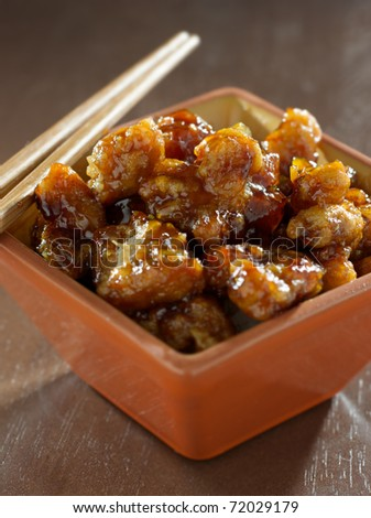 general tsos chicken in a bowl - stock photo
