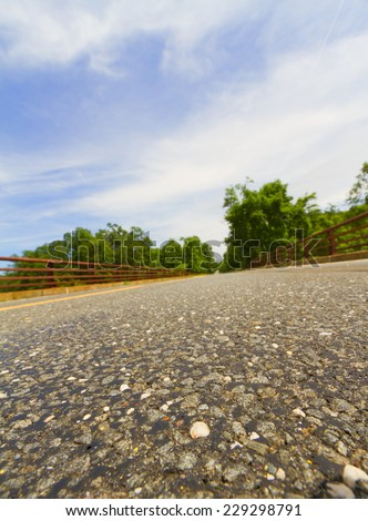 General view of a paved road - stock photo