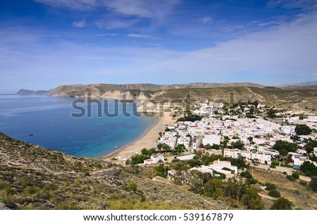 General view of Agua Amarga in Cabo de Gata, Almeria, south Spain, from the top of the hill