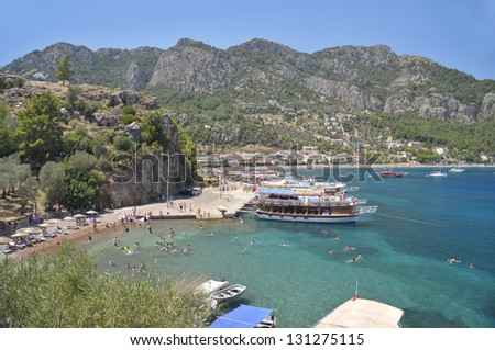 General view of beach in Marmaris, Turkey