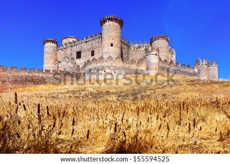 General view of Castle in Belmonte. Cuenca, Spain - stock photo