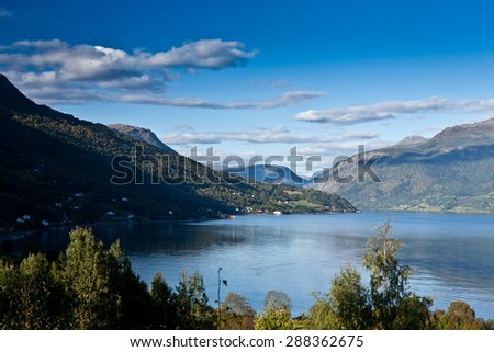 General view of fjord in Norway