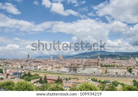 General view of Florence's city skyline as seen from Piazzale Michelangelo, Italy