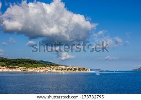 general view of Korcula town. Croatia. - stock photo