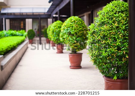 General view of luxury hotel outdoors - stock photo