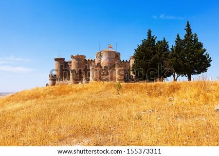 General view of Medieval Castle in Belmonte. Cuenca, Spain - stock photo