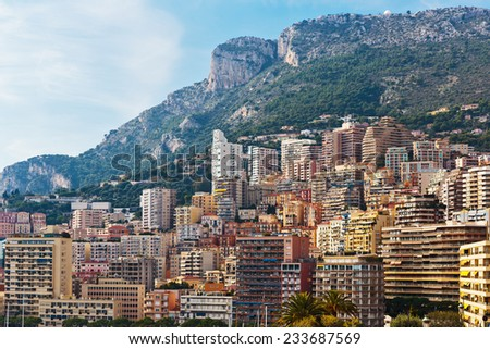 General view of Monte Carlo in Monaco - stock photo