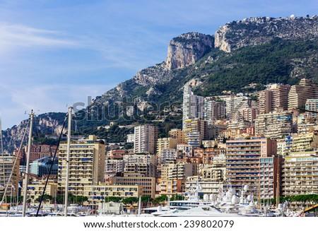 General view of Monte Carlo in Monaco - stock photo