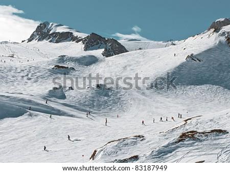 General view of mountain-skiing lines of Kaprun, Austria - stock photo