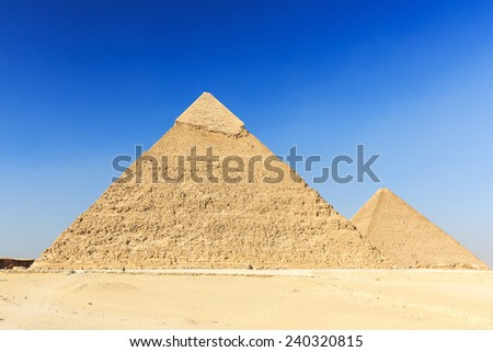 General view of pyramids from the Giza Plateau. Cairo, Egypt - stock photo
