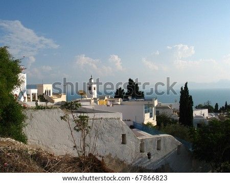General view of Sid bou Said in Tunisia - stock photo