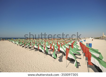 general view of the beach flags - stock photo