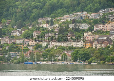 general view of the city of Biel, the spring season, Switzerland