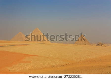 General view of the Giza Pyramids in Cairo. Egypt. - stock photo
