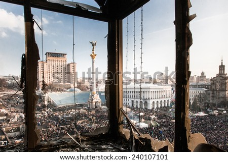 General view of the Maidan from the Trade Union building that was burned during anti-government protest in Kiev, Ukraine, February 21, 2014
