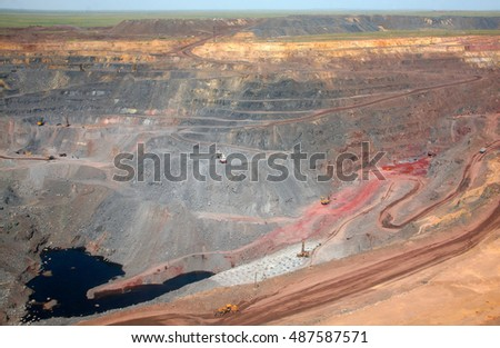 General view of the mine. Work is underway in the mine