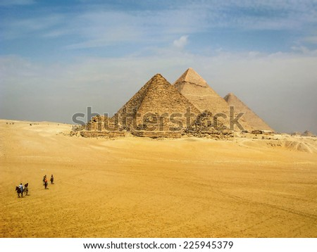 General view of the pyramids of Giza in Cairo, Egypt.