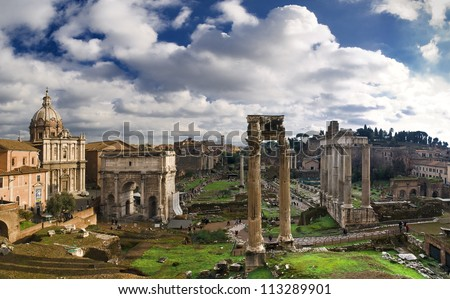 General view of the ruins of the Roman Forum - stock photo
