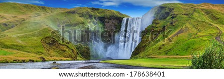 General view of the Seljalandsfoss falls, Iceland. Panorama