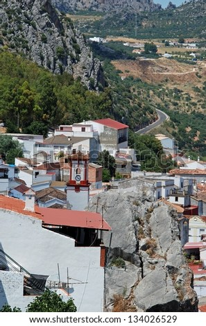General view of the town, Benaojan, Malaga Province, Andalusia, Spain, Western Europe. - stock photo