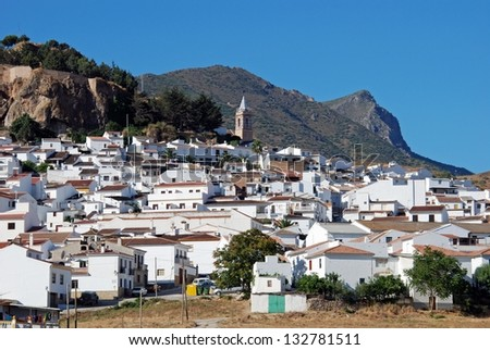 General view of the town with olive groves to the rear, Ardales, Malaga Province, Andalusia, Spain, Western Europe. - stock photo