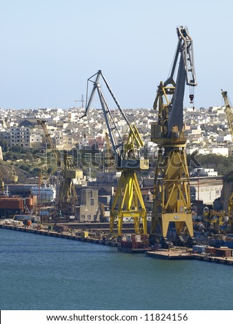 General view of the world famous Malta dockyards - stock photo