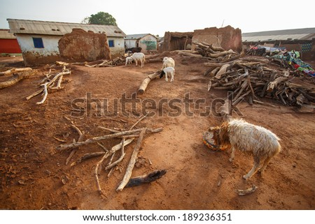 General view of village in rural area in Ghana - stock photo