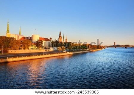General view on the Riga embarkment in bright sunny day, Latvia - stock photo