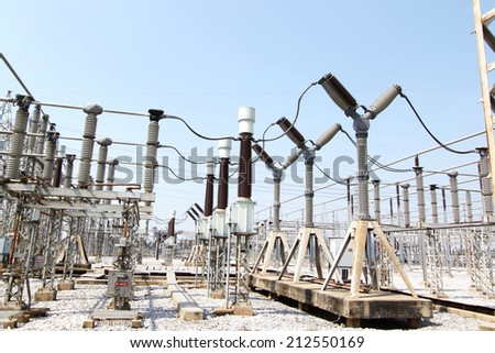 general view to high-voltage substation with switches and disconnectors - stock photo