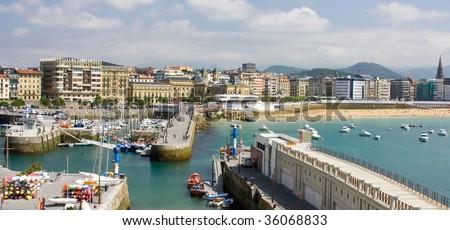 General Vista of the port in San Sebastian-Basque Country - stock photo