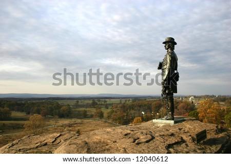 General Warren from Little Round Top in Gettysburg, Pennsylvania - stock photo