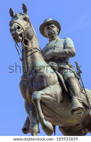 General Winfield Scott Hancock Equestrian Statue Civil War Memorial Pennsylvania Avenue Washington DC.  Created by Henry Ellicot and dedicated in 1896. - stock photo