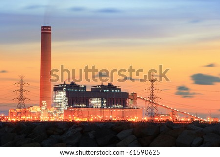 Generating plants on sunset. - stock photo