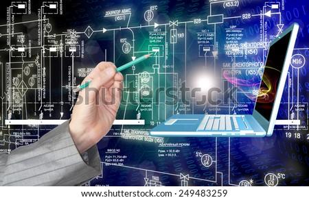 Generation computers engineering technologies - stock photo