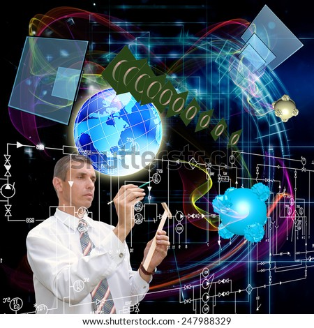 Generation cosmic telecommunications technologies.Digital connection - stock photo