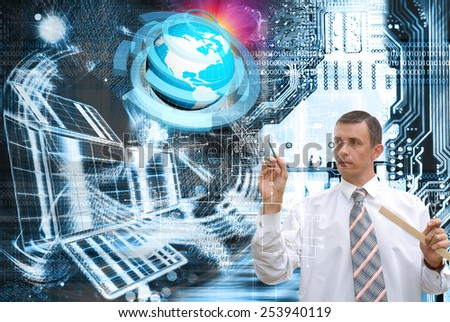 Generation innovative new industrial engineering connection technologies - stock photo