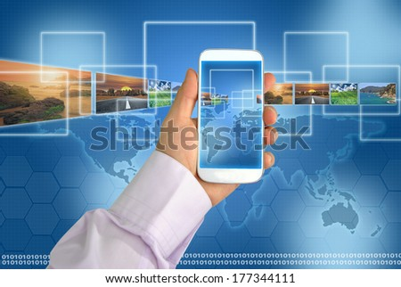 generation mobile business figures and technology and globalization - stock photo