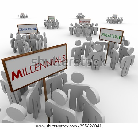 Generation X, Y and Millenials gathered around signs to illustrate networks or audiences of young people in a demographic market or customer base - stock photo