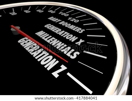 Generation X Y Z Millennials Speedometer Words 3d Illustration - stock photo