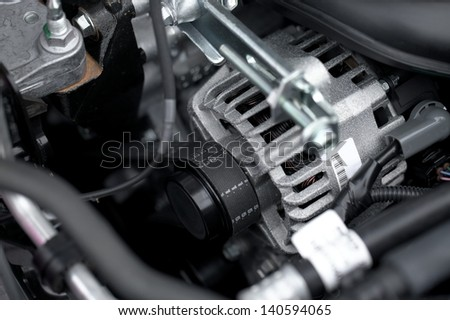 Generator and fan belt in a car engine