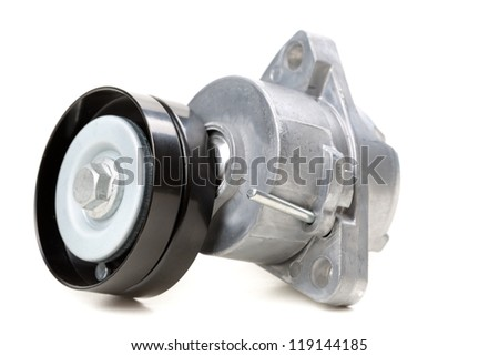 generator belt tensioner pulley. Parts of the car. Isolate on white. - stock photo