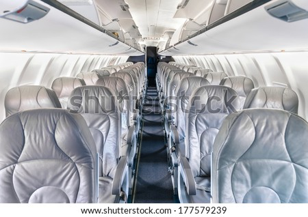 Generic airplane Seats - Modern flight Transportation - stock photo