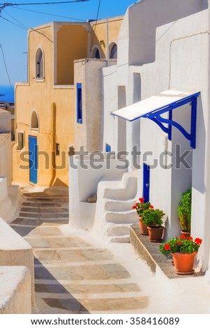 Generic architecture, Akrotiri village on Santorini island, Greece - stock photo